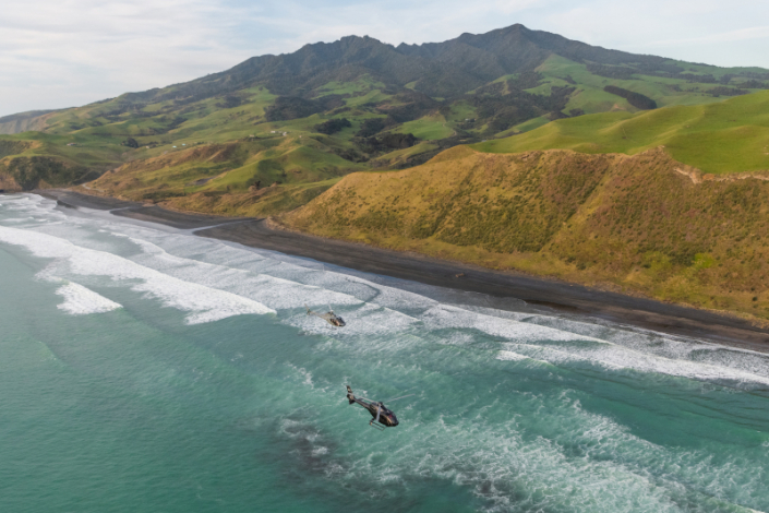 helicopters flying over the new zealand coast
